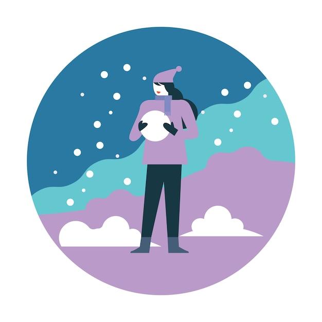 Meisje met sneeuwbal Premium Vector