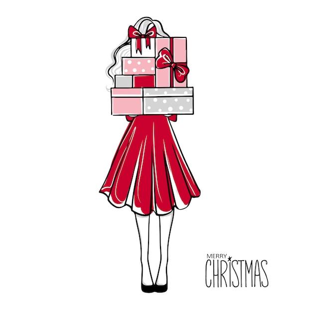 Meisje met veel geschenken vrolijk kerstfeest Premium Vector