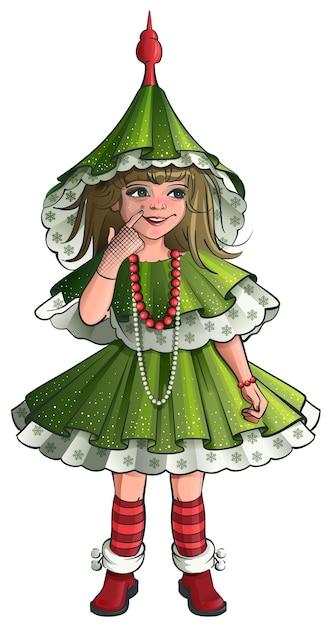 Meisje nieuwjaar kostuum groene kerstboom. Premium Vector