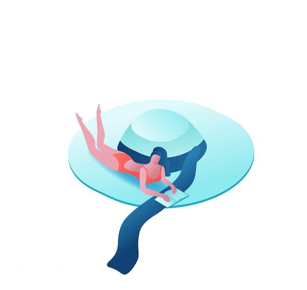Meisje ontspannen, tropische spa achtergrond Premium Vector