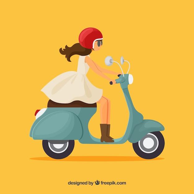 Meisje op scooter Gratis Vector