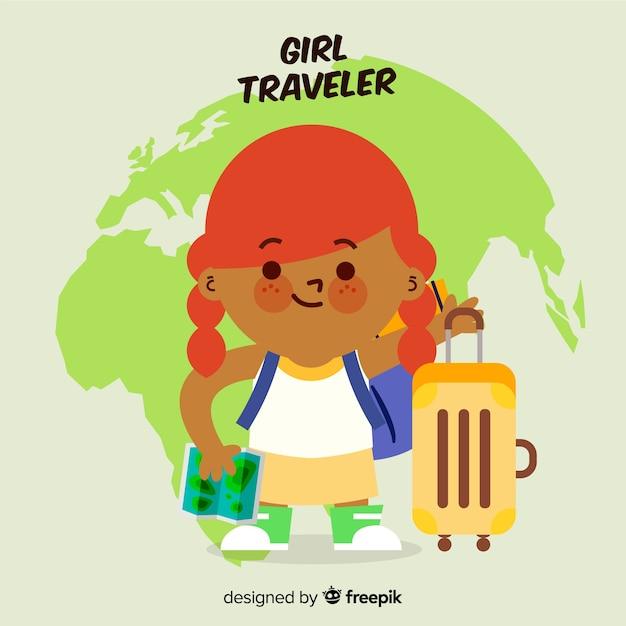 Meisje reiziger Gratis Vector