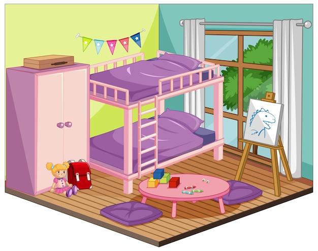 Meisje slaapkamer interieur met meubels en decoratie-elementen in roze thema Premium Vector