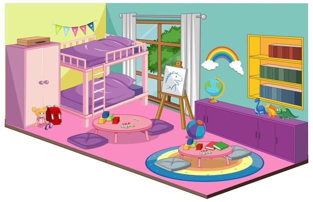 Meisje slaapkamer interieur met meubels en decoratie-elementen in roze thema Gratis Vector