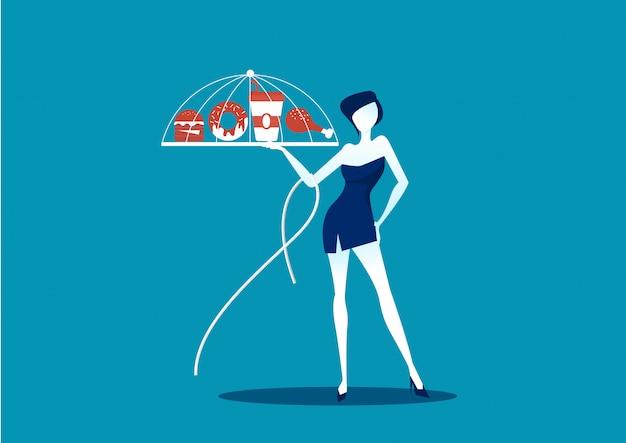 Meisje slank met ongezonde kost op blauwe achtergrond Premium Vector