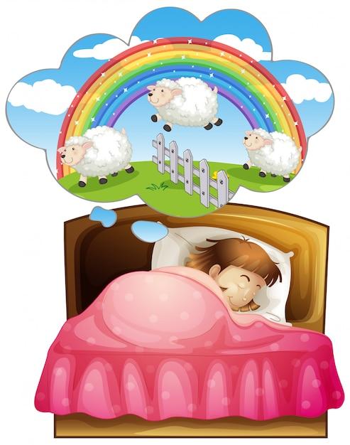 Meisje slapen en tellen sheeps in droom Gratis Vector