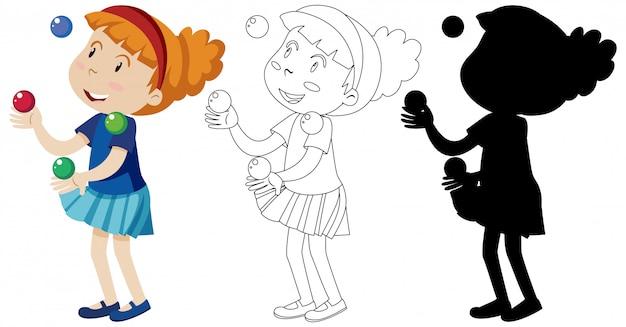 Meisje speelt met veel ballen met zijn omtrek en silhouet Gratis Vector