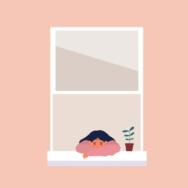 Meisje verveeld bij het raam omdat pandemie en lockdown illustratie Premium Vector