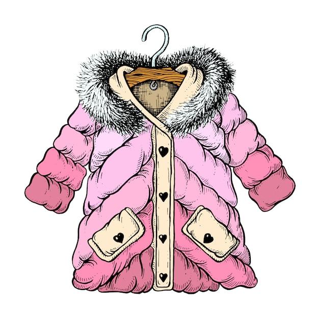 Meisje winter jas illustratie Premium Vector