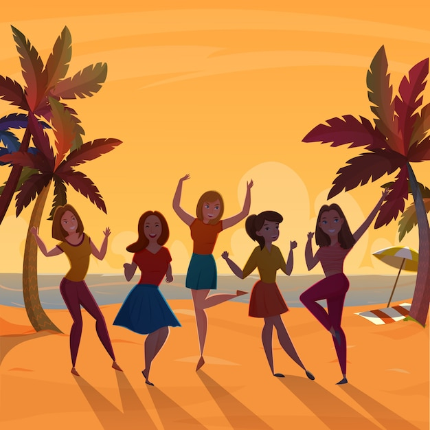 Meisjes beach dance retro poster Gratis Vector