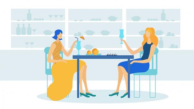 Meisjes die cocktails drinken in café of restaurant. Premium Vector