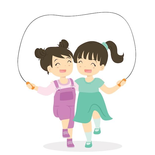 Meisjes die touwtjespringen samen beeldverhaalvector spelen Premium Vector