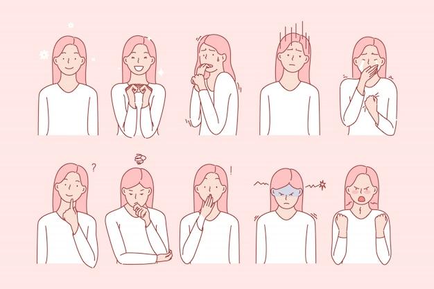 Meisjes emoties of gezichtsuitdrukkingen instellen Premium Vector