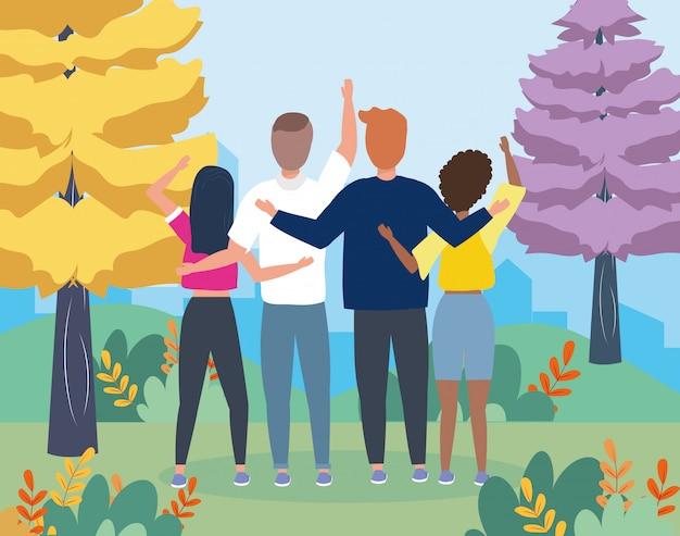 Meisjes en jongens koppelen aan vrijetijdskleding Gratis Vector