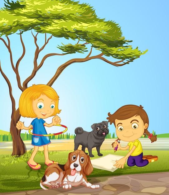 Meisjes en twee honden in het park Gratis Vector