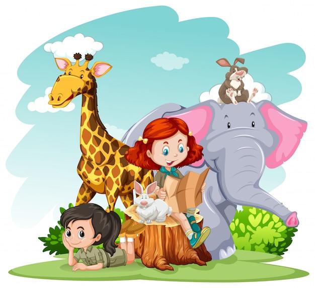 Meisjes en wilde dieren Gratis Vector