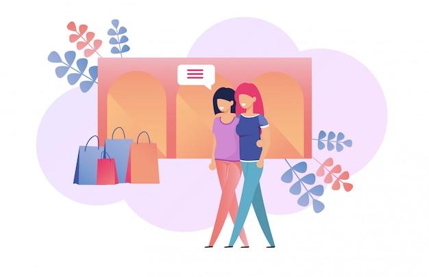 Meisjes gaan langzaam weekend winkelen en chatten Premium Vector