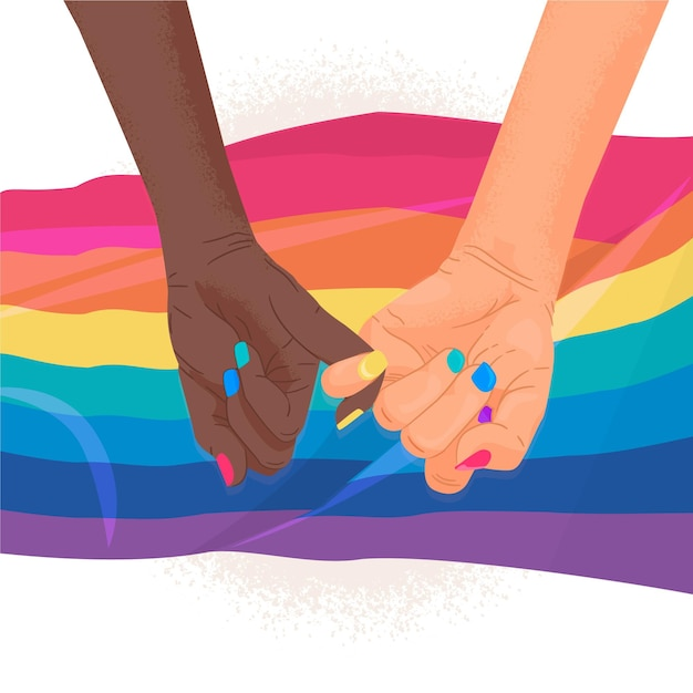Meisjes hand in hand op trots dag Gratis Vector
