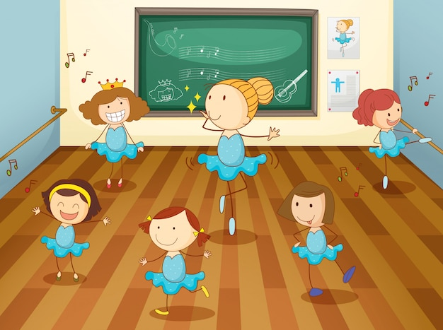 Meisjes in de klas Gratis Vector
