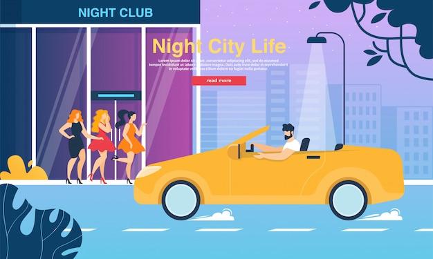 Meisjes in ouderwetse jurken bij night club entrance banner Premium Vector