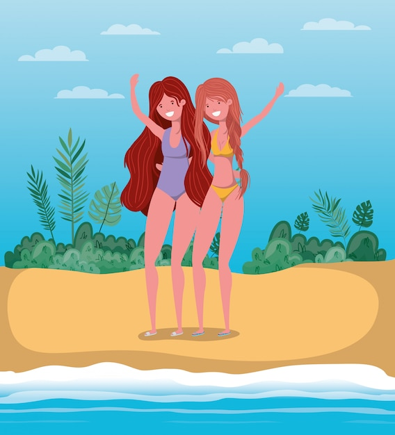 Meisjes met badkleding in de zomer Premium Vector