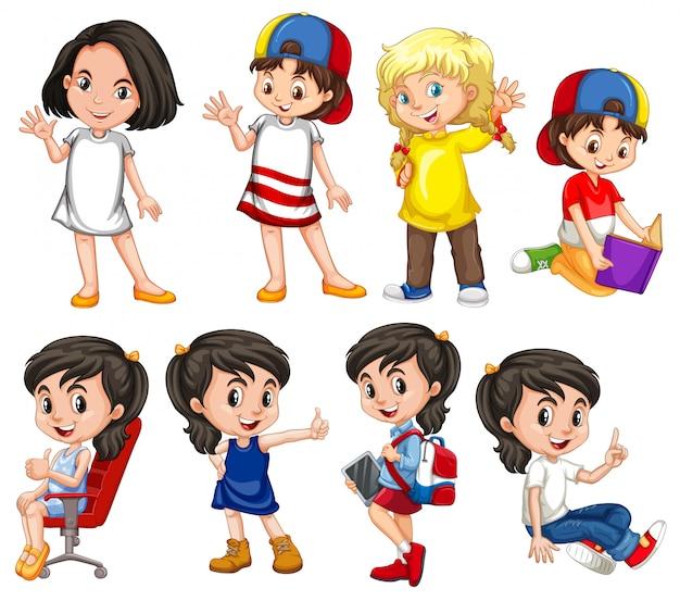 Meisjes met blij gezicht doen in verschillende acties Gratis Vector