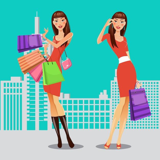 Meisjes met boodschappentassen. vrouw bij het winkelen. verkoop banner. vector illustratie Premium Vector