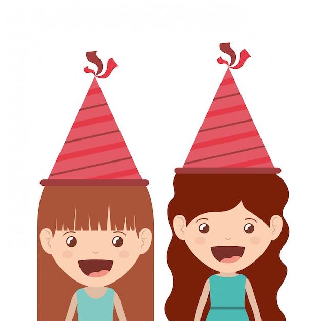 Meisjes met feestmuts in verjaardagsviering Premium Vector