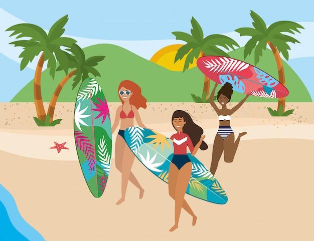 Meisjes met zwemkleding Premium Vector