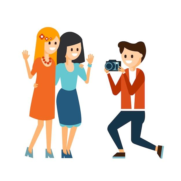 Meisjes nemen foto illustratie Premium Vector