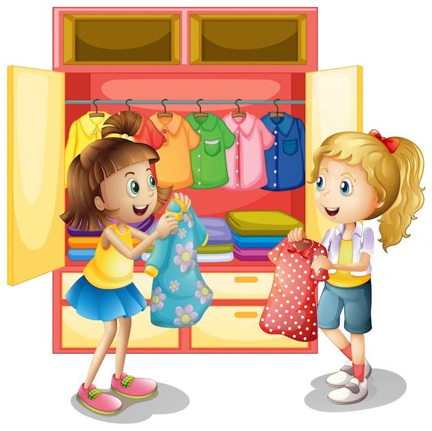 Meisjes plukken kleding uit de kast Gratis Vector