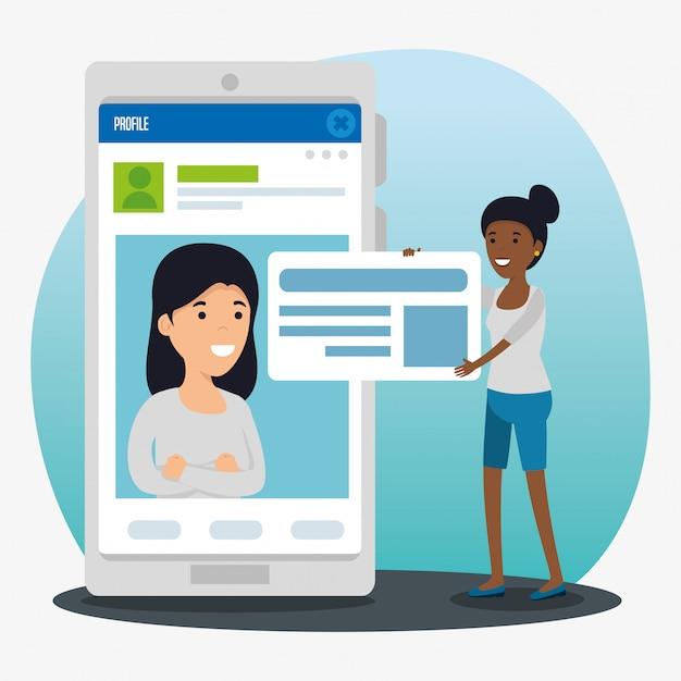 Meisjes profiel sociaal chat bubble bericht Gratis Vector