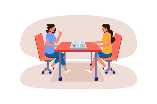 Meisjes spelen ludo-spel Gratis Vector