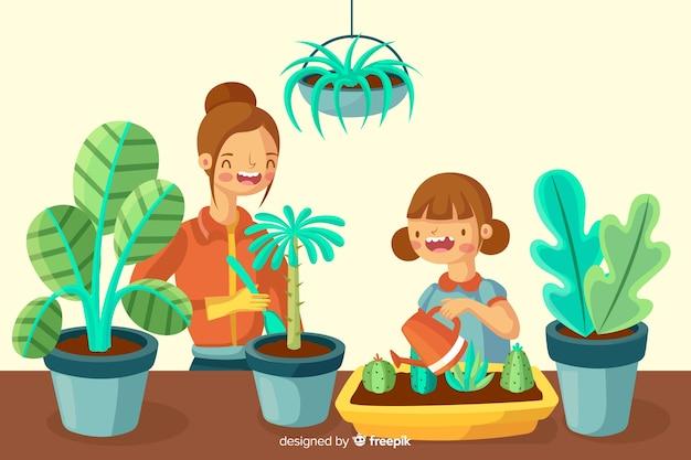 Meisjes zorgen voor planten Gratis Vector