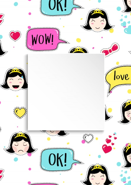 Meisjesbanner met anime emoji-patroon. leuke stickers met emotico Premium Vector