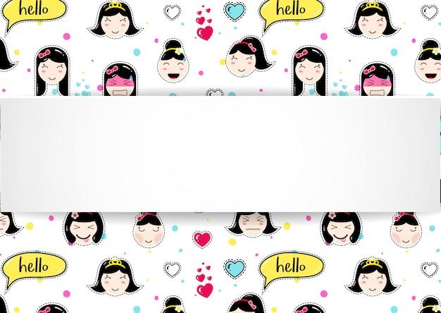 Meisjesbanner met anime emoji-patroon. leuke stickers met emotico Premium Vector
