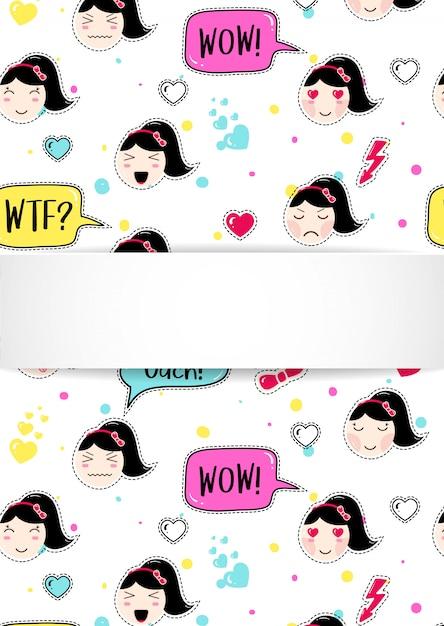 Meisjesbanner met anime emoji-patroon. leuke stickers met emoticon en 3d papier. kinderachtig meisjesbanner met kawaii aziatische gezichten. Premium Vector
