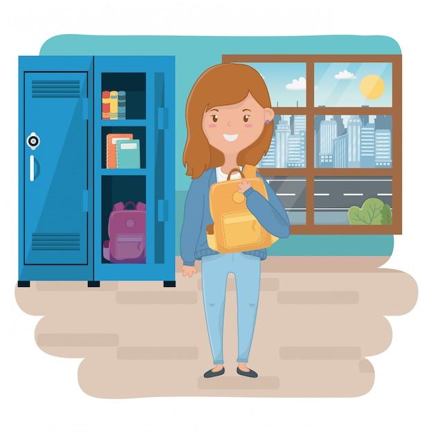 Meisjesbeeldverhaal van school Premium Vector