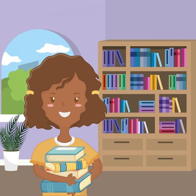 Meisjesbeeldverhaal van schoolontwerp Gratis Vector