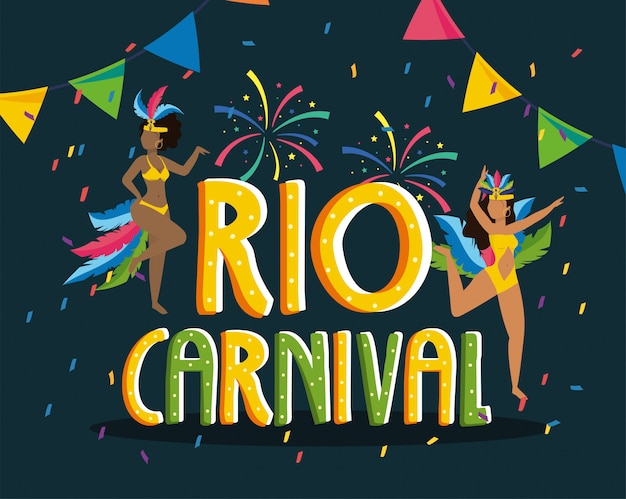 Meisjesdanser met kostuum en vuurwerk aan rio carnaval Premium Vector