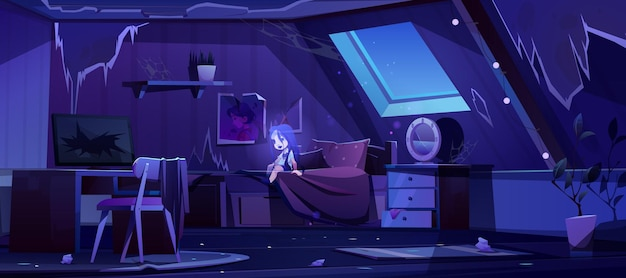 Meisjesgeest in oude slaapkamer op zolder bij nacht Gratis Vector