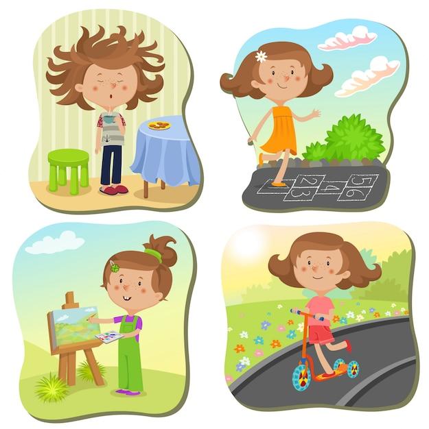 Meisjeskarakter op verschillende scènes op vakantie Gratis Vector