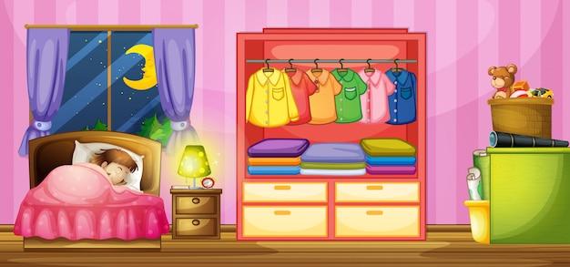Meisjeslaap in slaapkamer Gratis Vector