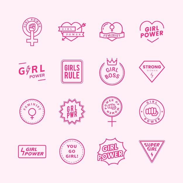Meisjesmacht gemengde emblemen geplaatst illustratie Gratis Vector