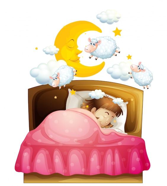 Meisjesslaap in bed die van sheeps dromen Gratis Vector