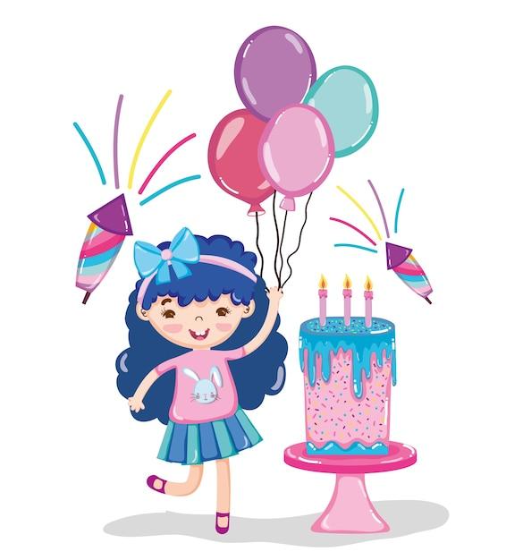 Meisjesverjaardag Feest Tekenfilms Vector Premium Download