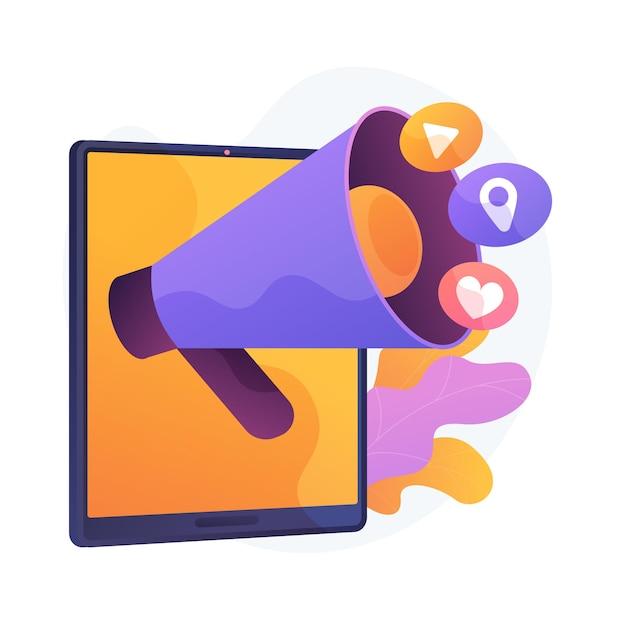 Melding op sociale media. online netwerken, smartphone, pictogrammen voor multimedia-apps. moderne gadgettoepassingen die geïsoleerd plat ontwerpelement bijwerken. Gratis Vector