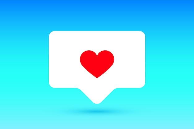 Meldingen ondertekenen zoals, tekstballon. zoals symbool met hart, een zoals en schaduw voor sociaal netwerk Premium Vector