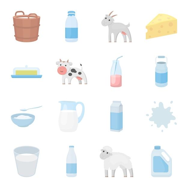 Melk cartoon vector icon set. vector illustratie van melkvoedsel. Premium Vector