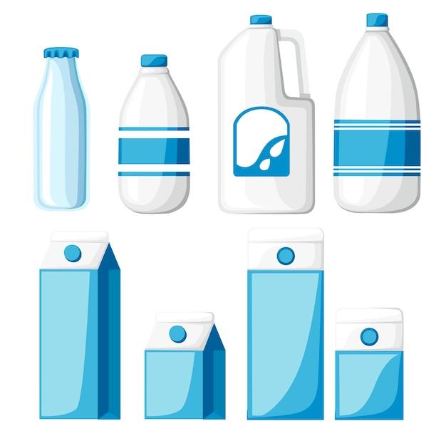Melk containers collectie. kartonnen doos, plastic en glazen fles. melk sjabloon. illustratie op witte achtergrond. Premium Vector